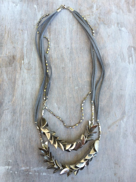 Olive Leaves Statement Necklace: SILVER GREY