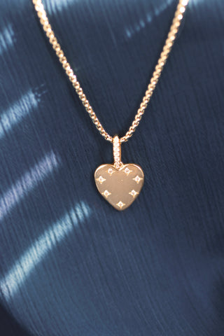 Sparkle Heart CZ Gold Necklace