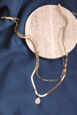Pave Teardrop Gold Snake Chain Necklace - Double Layer