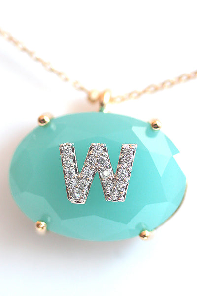 Jeweled Monogram Pendant Necklace