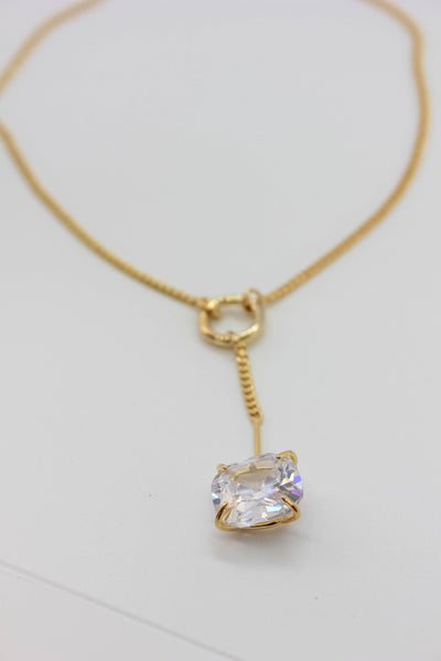 Cushion Cut Sparkly Necklace