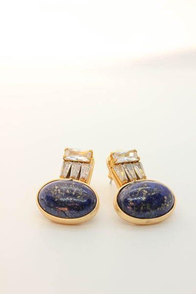 Lapis and Rhinestone Post Earrings