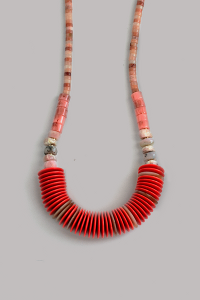 Statement Shell Necklace - Coral