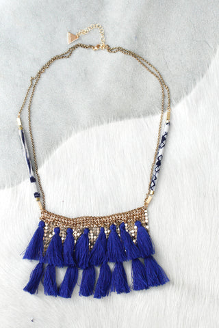 Chain Mail Hmong Tassel Statement Necklace