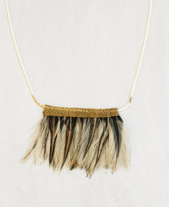 Mesh Feather Bib Necklace -- Natural Feathers