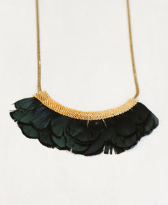 Mesh Feather Bib Statement Necklace