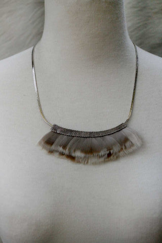Mesh Feather Bib Statement Necklace - GREY