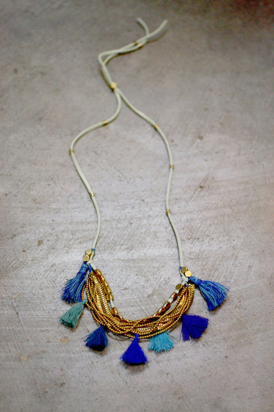 GMA Dancing Tassels Necklace - Blue