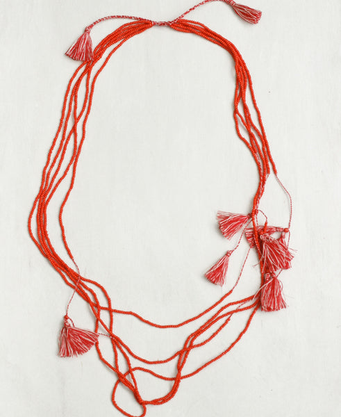 Beaded Tassels Cascade Necklace