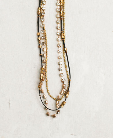 Delicate Colored Strand and Rhinestone Chain Long Necklace