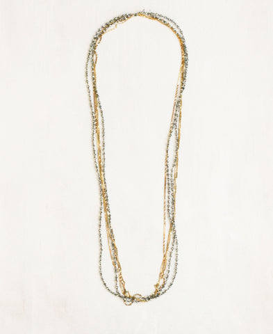 Triple Chain and Crystal Necklace