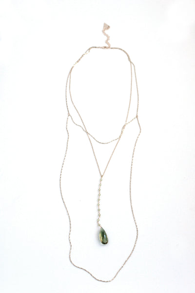 Semiprecious Long Prelayered Drop Necklace - Peridot
