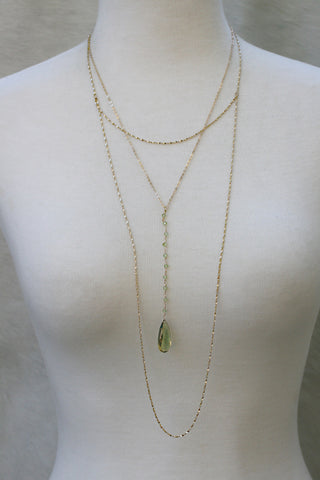 Semiprecious Long Prelayered Drop Necklace - Periodt