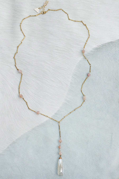 Chunky Semiprecious Y Pendant Necklace - Moonstone