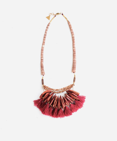 Silk Fringe and Wooden Beads Statement Necklace