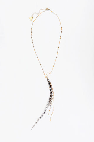 Glistening Long Feather Delicate Necklace