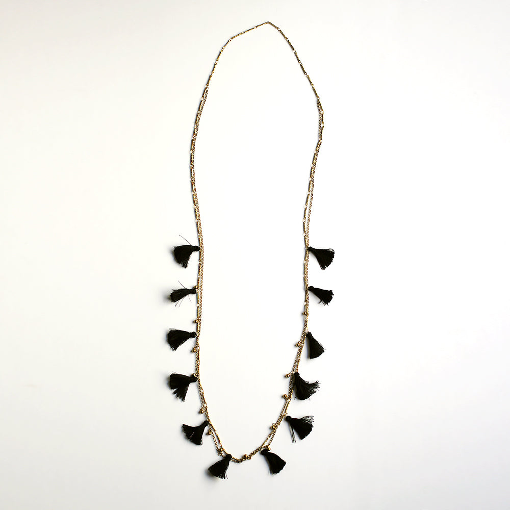 Boho Tasseled Droplets Long Necklace - Black