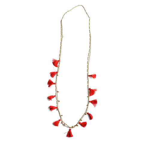 Boho Tasseled Droplets Long Necklace - Red