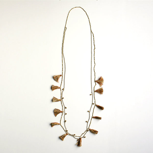 Boho Tasseled Droplets Long Necklace - Multi