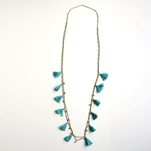 Boho Tasseled Droplets Long Necklace - Turquoise