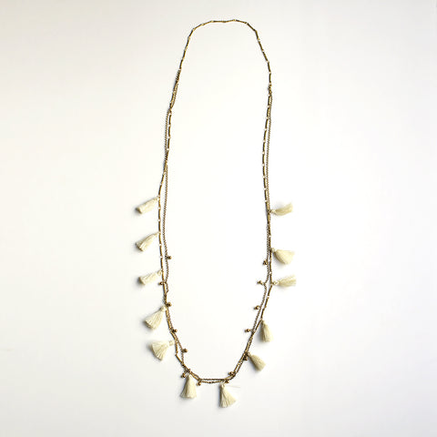 Boho Tasseled Droplets Long Necklace - White