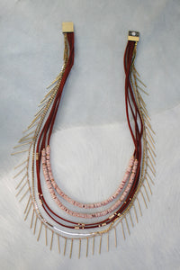 Mayan Heishi And Fringe Statement Necklace - Maroon