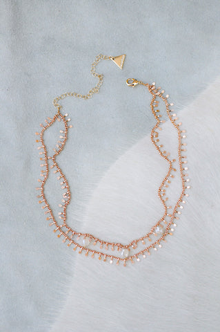 Rail Road Stone Choker in Rose Gold