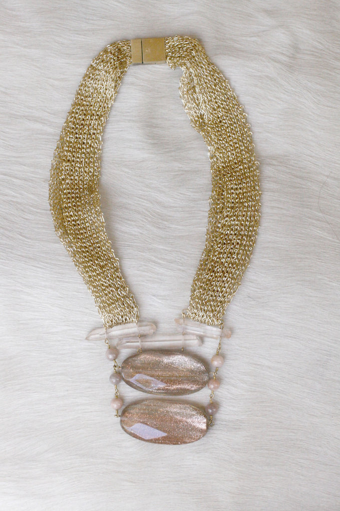 Gilded Mesh and Slab Statement Necklace