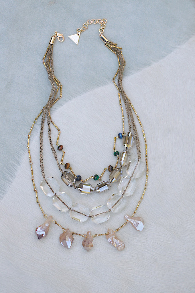 Mesh And Bronze Stone Necklace