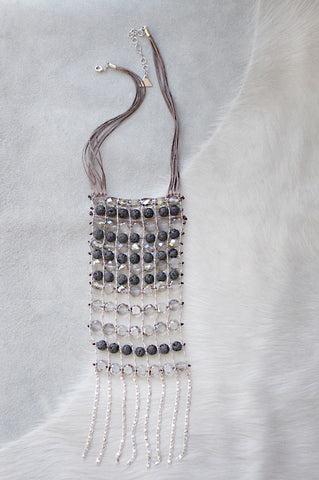 Lava Crystal Ladder Necklace