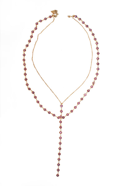 Double Y Necklace - Purple