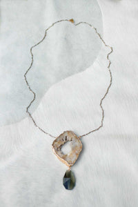 Statement Druzy Pendant Necklace - Taupe