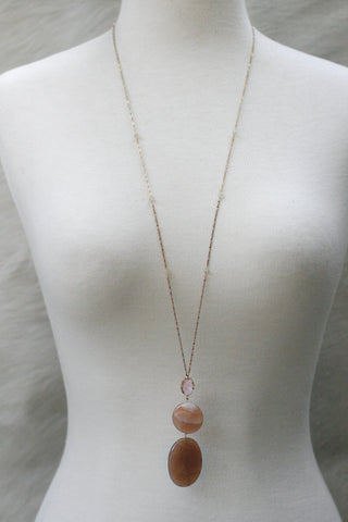Moonstone Brass Long Necklace