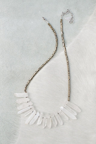 Silver Quartz Short Necklace - White