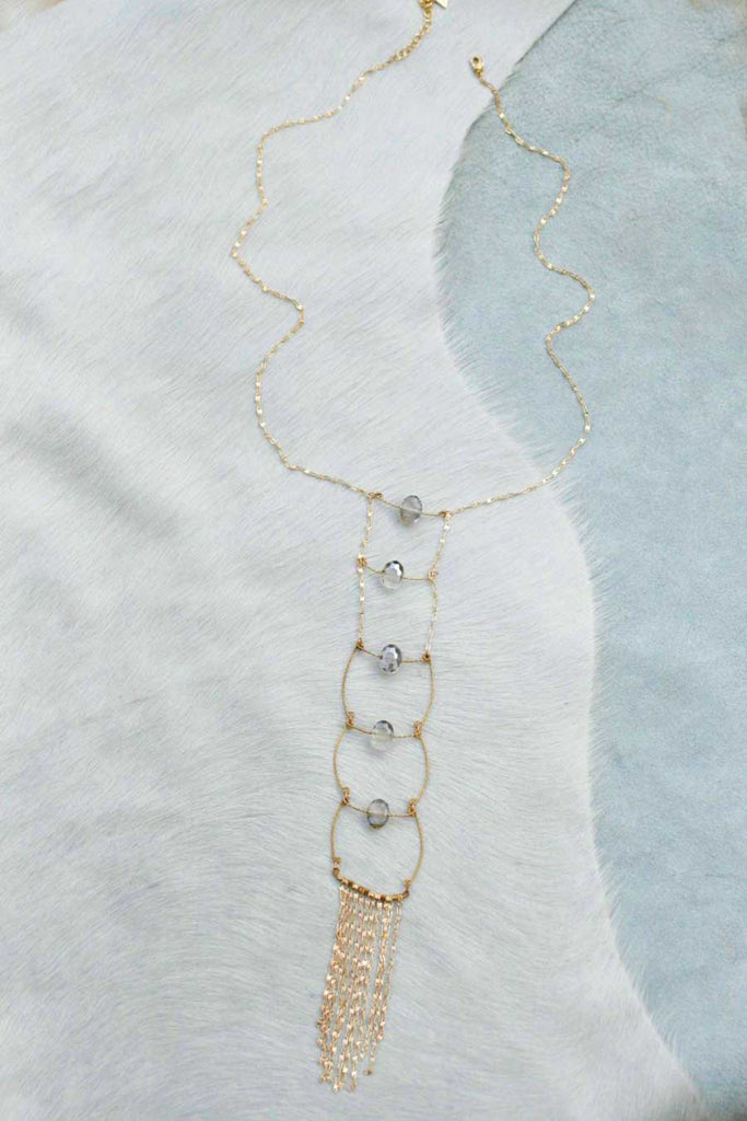 Glass Ladder Fringe Y Necklace