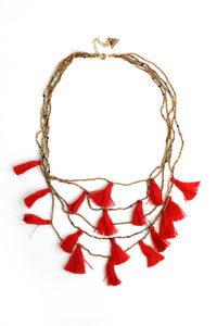 Tassel Flutter Multilayer Necklace - Red
