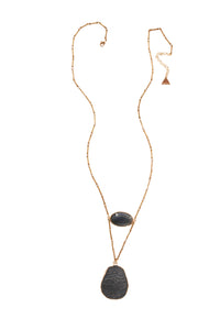 V Long Stone Necklace - Gray