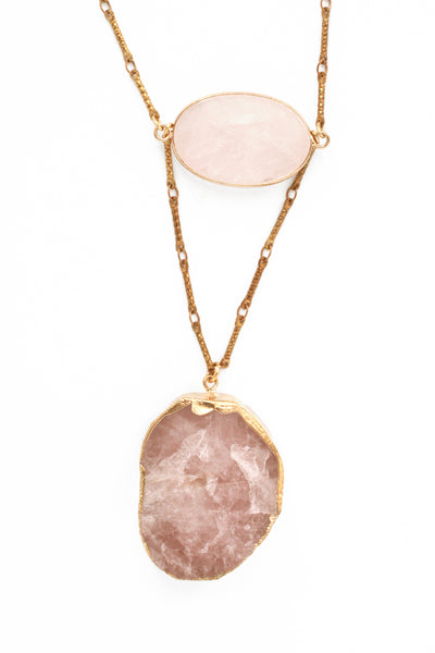 V Long Stone Necklace - Rose