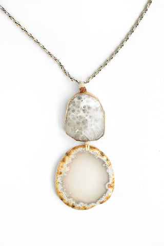 Double Stone Drop Necklace - White