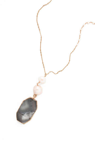 Double Pearl Drop Necklace - Pearl