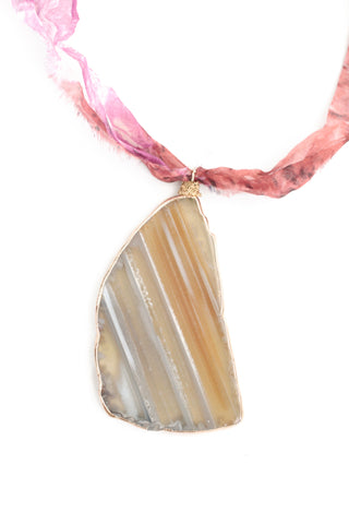 Single Stone Long Necklace - Pink