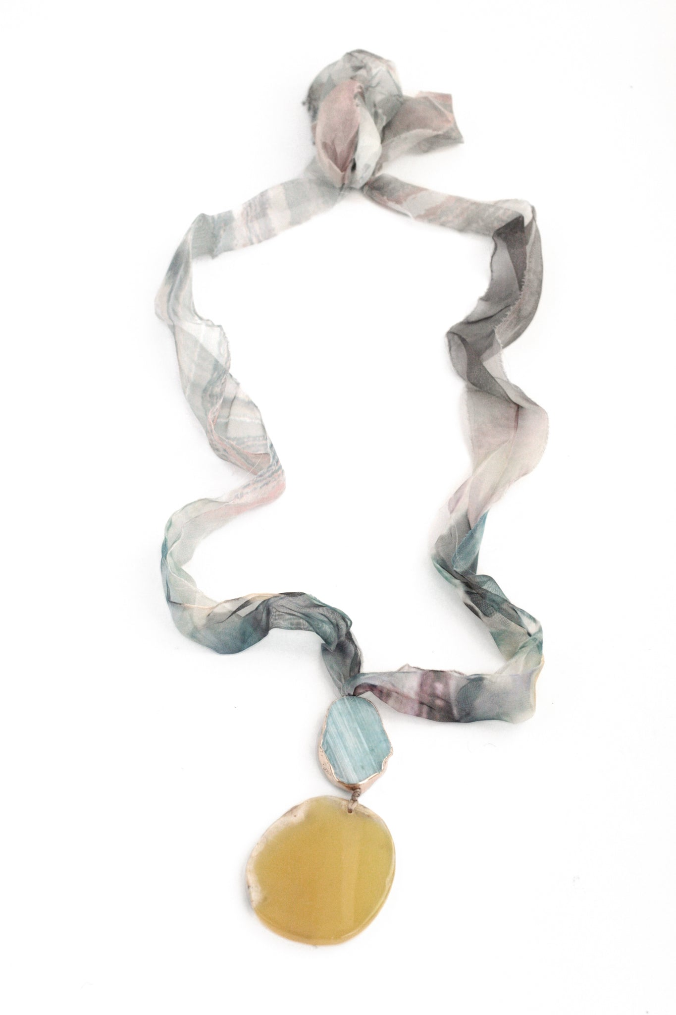 Double Stone Long Necklace - Yellow