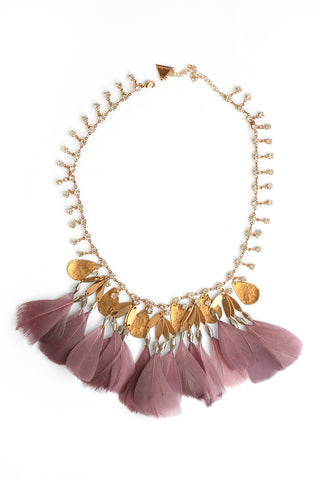 Crystal and Feather Bib Necklace - Mauve