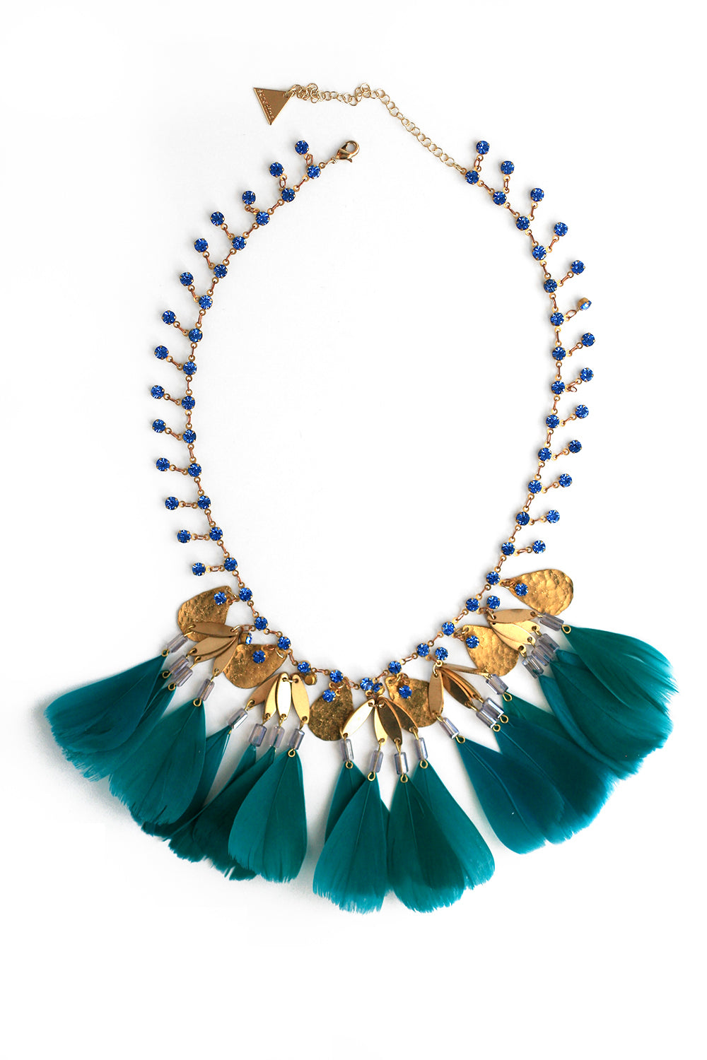 Crystal and Feather Bib Necklace - Teal