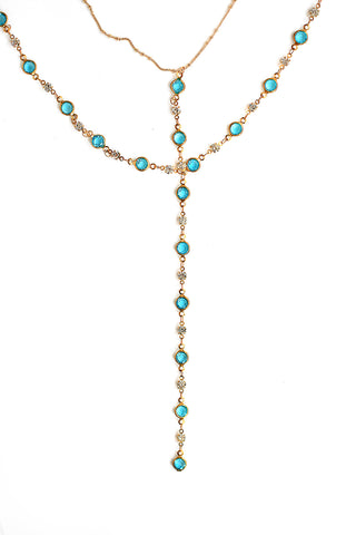 Double Y Necklace - Blue