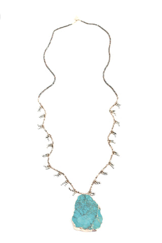 Drop Quartz Long Necklace - Turquoise