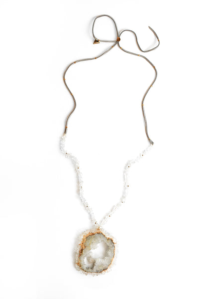 Statement Druzy Necklace - Grey