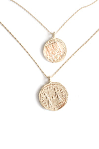 Double Coin Layered Necklace - Gold
