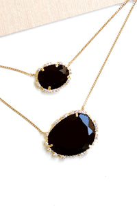 Double Stone Pendant Necklace - Black