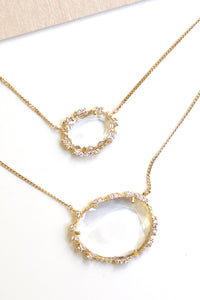Double Stone Pendant Necklace - Clear